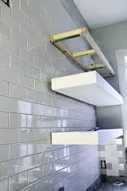 tiling around diy floating open shelves