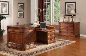 grand manor granada double pedestal executive desk in antique vintage walnut finish by parker house ggra 9080 3