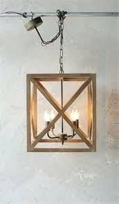 square rustic metal and wood chandelier rectangular