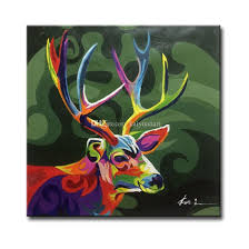 framed hand painted abstract sika deer animal picture art paintings on canvas for sofa wall or tv wall decoration hand painted painting animal painting