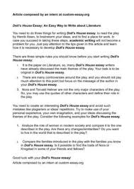 doll s house essay an easy way to write about literature doll s house essay an easy way to write about literature