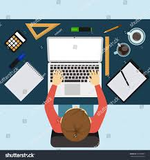designer office desk isolated objects top view. office workplace business man working with laptop and documents on table top view designer desk isolated objects
