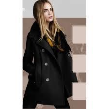 fashion slim pure color big lapel long sleeve two row ons woolen women s coat black s