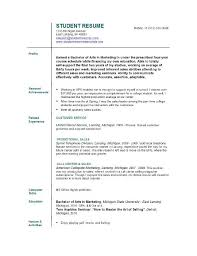 Awesome Collection Of Work Resume For College Student Creative
