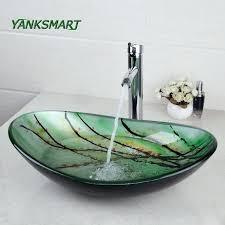 vanities glass vanity bowls green oval glass washroom basin vessel vanity sink bathroom mixer basin