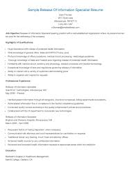 Release Of Information Specialist Sample Resume Sample Release Of Information Specialist Resume Resame Pinterest 1