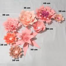 Pink Paper Flower Decorations Handmade Pink Rose Diy Paper Flowers Leaves Set For Party