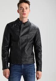 guess urban biker faux leather jacket jet black frost men clothing jackets black