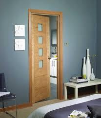 palermo oak pre finished obscure glazed internal doors in situ