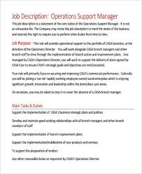 Sample Operation Manager Job Description 9 Examples In