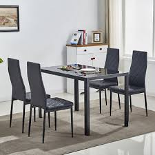 5 piece gl dining table set w 4 chairs metal kitchen room breakfast furniture