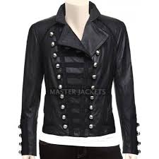 women military leather jacket in black color