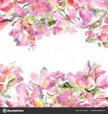 Birthday Flowers Background Design Bright Floral Frame Watecolor Flowers Wedding Invitation