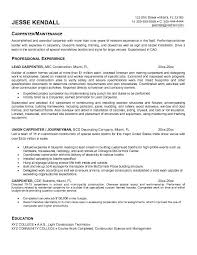 Sample Resume Carpenter 2016