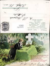 600023litho Tod Trauer Am Elterngrab Frau Grab Spruch Text Stempel