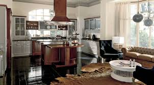 Luxury walnut kitchen with center island in chicago martini mobili