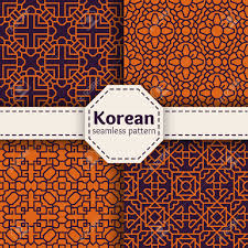 Asian Patterns Cool Korean Or Chinese Tradition Vector Seamless Patterns Set Asian