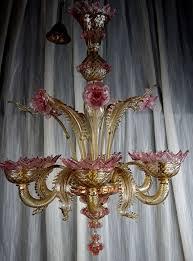 six light chandelier in artistic glass