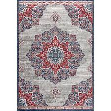 modern persian vintage moroccan medallion navy red