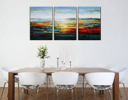 aonbat oil paintings canvas art wall decor modern 3 pieces landscape paintings on canvas acrylic painting ready to hang 100 hand painted artwork