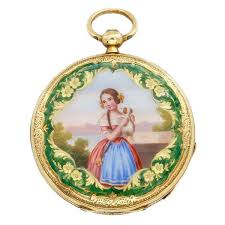 yellow gold and enamel key wind watch depicting a girl with a puppy circa 1840
