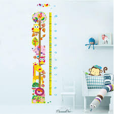 Cute Growth Chart New Cute And Friendly Animals Height Growth Chart Decal Stickers Forest Zoo Cartoon Owls Lion Giraffe Height Measurement Height Wallpaper Removable