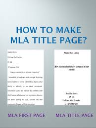 Cover Page For Mla Mla Title Page Step By Step