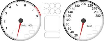 rpm gauge vector. vector drawing of car dashboard tachometer and speedometer rpm gauge b