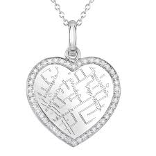 white gold heart map pendant with diamond border