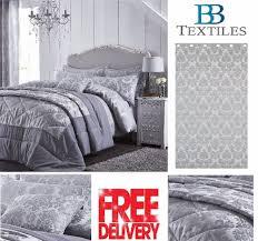 catherine lansfield damask jacquard silver grey luxury duvet cover bedding set
