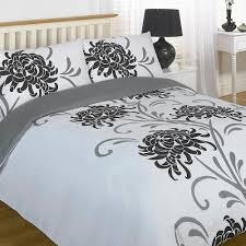 duvet quilt cover bedding set della black white single size