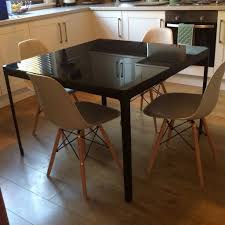 ... Dining Tables, Awesome Black Square Modern Marble Glass Dining Table  Ikea Varnsihed Design: Astonishing ...
