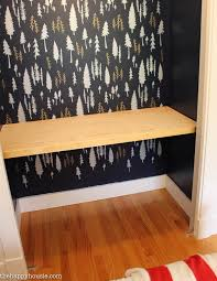 closet turned into a workspace with beautiful stenciled feature wall at the happy housie 13