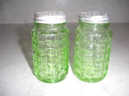 vintage hazel atlas green depression glass salt pepper shakers w aluminum lids