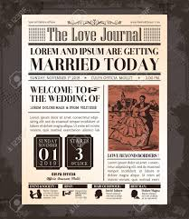 Vintage Newspaper Template Free Vintage Newspaper Journal Wedding Invitation Vector Design Template