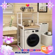 Kệ máy giặt 2 tầng loại kmg03 giá để máy giặt cửa trước mặt gỗ lõi
