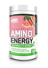 optimum nutrition naturally flavored amino energy simply watermelon preworkout and essential amino acids with