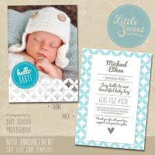 Baby Boy Announcements Templates 5x7 Birth Announcement Template For Photographers Psd Baby