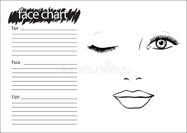 Free Printable Face Charts For Makeup Artists Man Face Chart Makeup Artist Blank Template Stock Vector