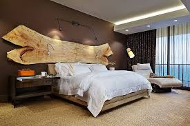 a stunning addition to the headboard wall raw slab of wood design