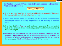verification of laws of photoelectric emission based on einstein s photoelectric equation
