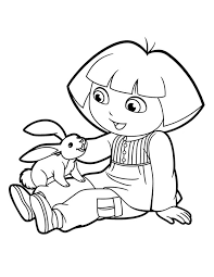 Easter Dora Coloring Page Free Printable Pages