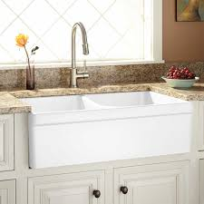 33 fiammetta double bowl fireclay farmhouse sink with belted a front white