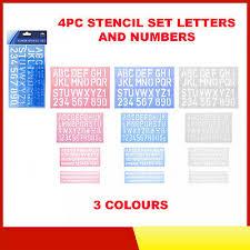 Templates Alphabet Letters 4 Pack Lettering Stencil Templates Set Alphabet Letter Number Symbol School Home Ebay