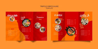 Tri Fold Menu Template For Asian Or Japan Restaurant Psd