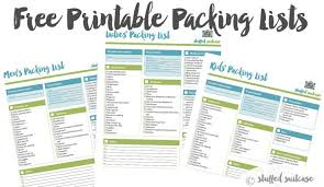 Packing List For Vacation Template Packing List Template Printable Stuffed Suitcase