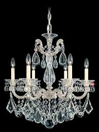 la scala 6 light crystal chandelier in roman silver with clear crystal from swarovski