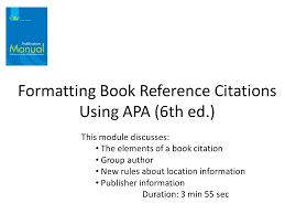 Formatting Book Reference Citations Using Apa 6th Ed
