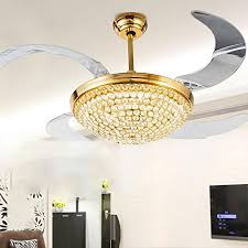 rs lighting european style gold ceiling fan acrylic blades fan crystal ceiling fan modern with chandelier