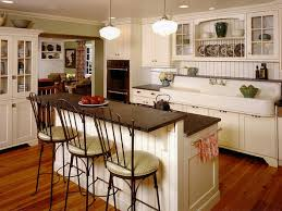 The Awesome Country Themed Kitchen Completed with White Kitchen Island with  Old Fashioned Seating on Hardwood